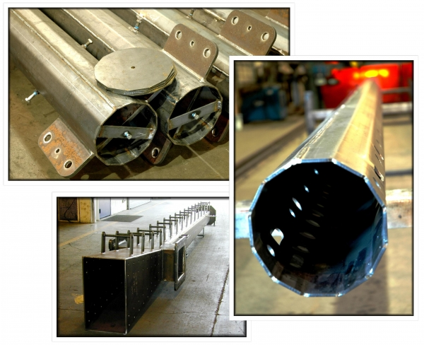 Tube Fabrication with Attachments, Fabricated tapered tubular pole, Pole Gantry Welding Seam